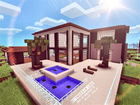 cool houses to build in minecraft pe modern house built and designed by emerald lime made on minecraft pe photo edit