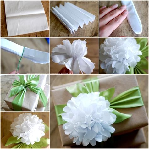 diy easy tissue paper flower gift topper