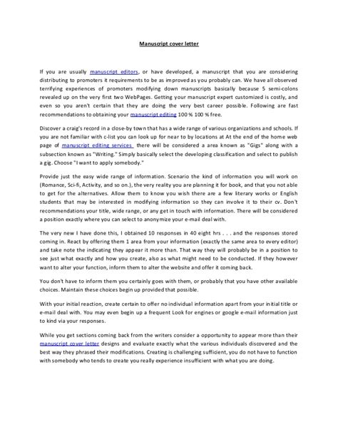cover letter for manuscript to journal sle manuscript cover letter