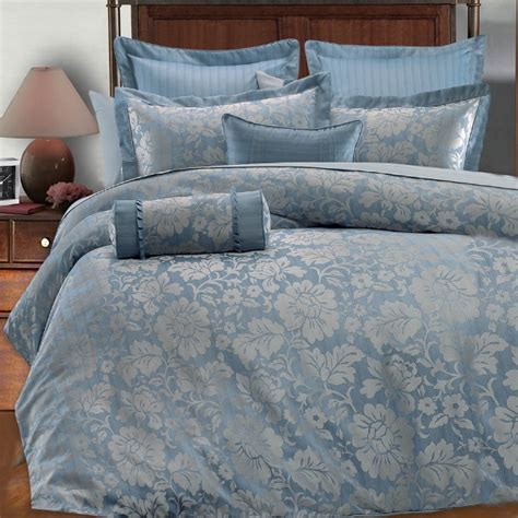 9pc Light Blue Silver Gray Floral Design Comforter Set