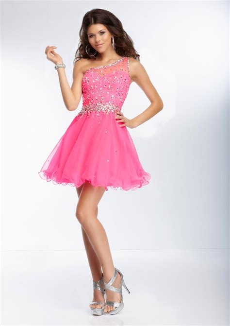 One Shoulder Pink Chiffon Short Homecoming Dress   Queen of Victoria
