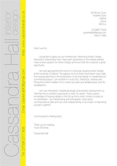 interior design cover letter template s design a journey through my year of