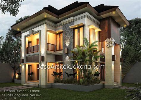 desain rumah lantai 2 desain rumah 2 lantai luas bangunan 240 m2 model rumah