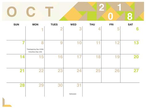 printable october 2018 calendar template business template