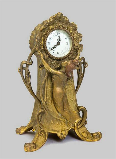 jugendstil standuhr american nouveau gilt metal mantel clock new