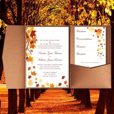 free printable fall invitation templates pocket fold wedding invitations quot falling leaves quot fall