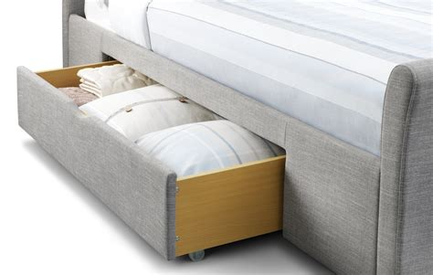 Grey King Size Bed With Drawers Julian Bowen King Size Grey Fabric Bed With 2