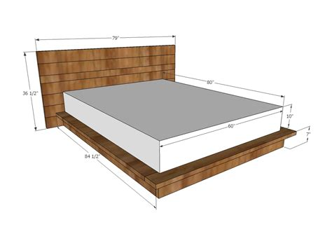 standard queen size bed ana white rustic modern 2x6 platform bed diy projects