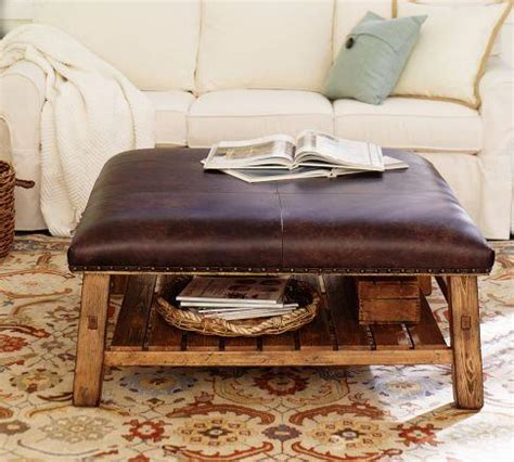 pottery barn ottomans caden leather square ottoman pottery barn