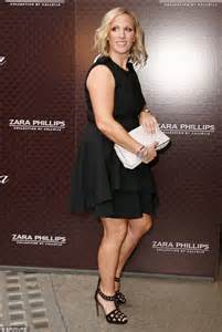 zara phillips plays in slimming black dress after royal