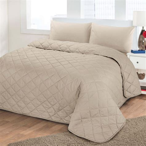 Quilted Bedspreads King Luxury Soft Plain Dyed Polycotton Quilted Bedspread Bed