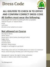 dress code st andrews major golf club vale of