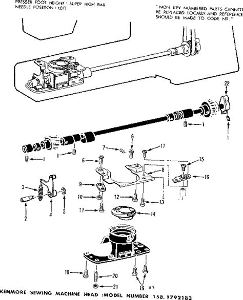 kenmore sewing machine parts diagram bobbin complete diagram parts list for model