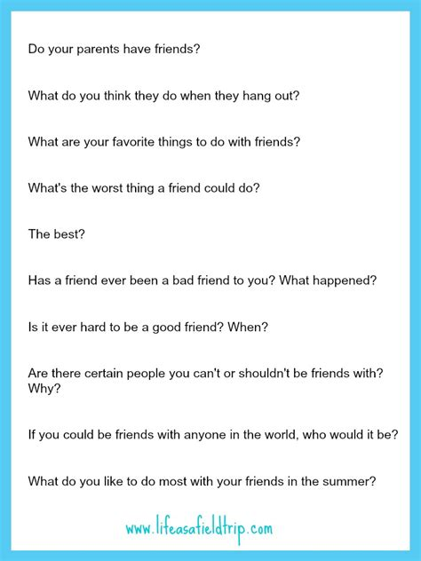 questions for friends friendship according to printable as