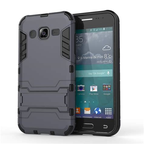 Samsung J1 2015 Slim Armour for samsung galaxy j2 2015 j200 slim robot armor kickstand shockproof rubber back for