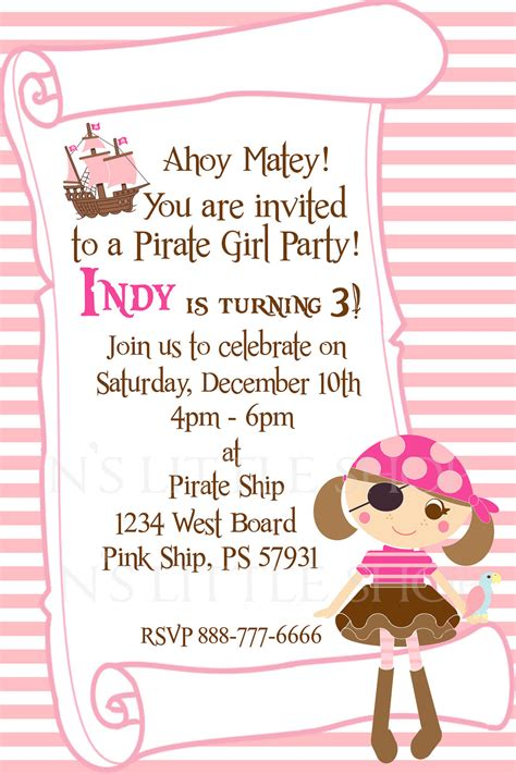 Sle Birthday Invitation Cards For Pirate Girl Party Invitation Card For A Girl By Nslittleshop