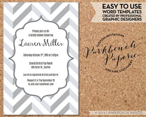 bridal shower invitation templates for word bridal shower invitation gray chevron diy editable word