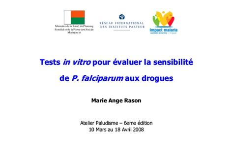 test in vitro tests in vitro pour 233 valuer la sensibilit 233 de p falciparum