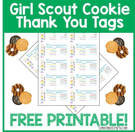 printable thank you cards girl scout cookies girl scout cookie thank you tags free printable