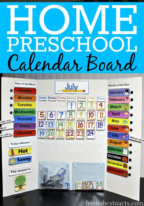 Calendar Board For Home Preschool Calendar Board From Abcs To Acts