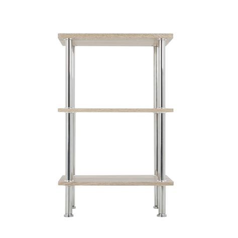 avf whitewashed oak and chrome small 3 tier shelving unit