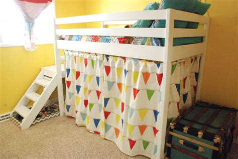 loft bed curtains ana white diy jr c loft bed with curtain diy projects