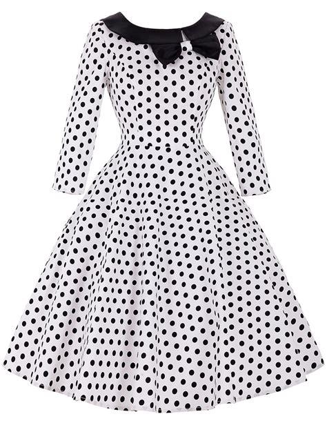 Black And White Vintage Dress sleeve 50s rockabilly dresses 2016 autumn winter vintage floral polka dot dress