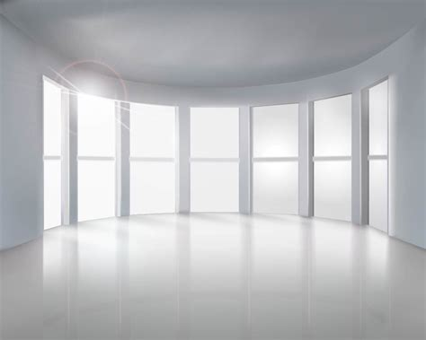 bid room realistic empty room with big windows vector