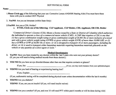 dot physical form sle dot physical form 5 free documents in pdf