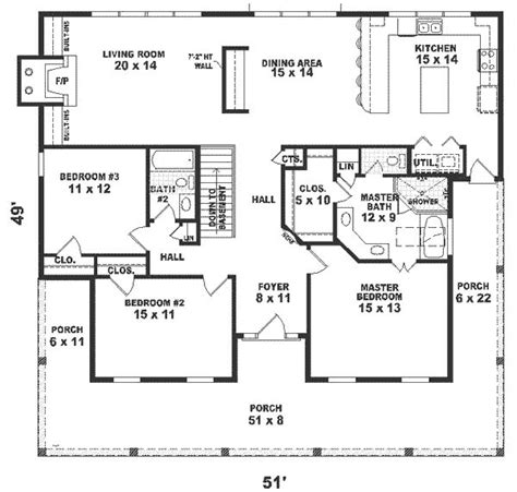 one story house plans 1500 square 2 bedroom