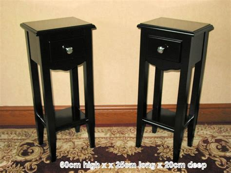 24 Inch Bedside Table 2 Slim Black Telephone L Bedside Side Plant Tables 10 Inch W X 8 I