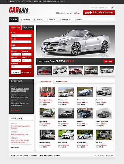 automotive templates template 38522 car sale website template
