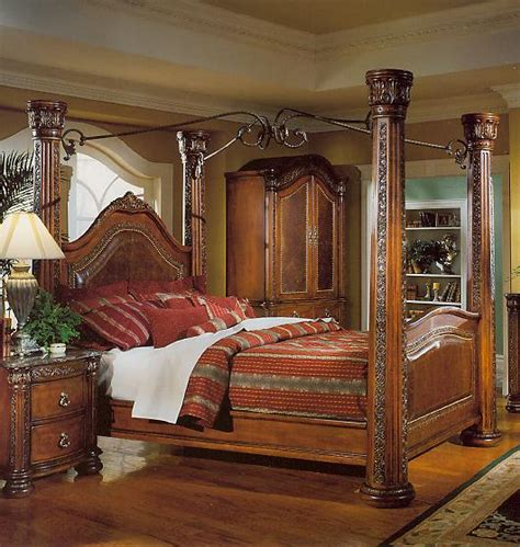 wood canopy bedroom sets wood and wrought iron headboards brown cherry post bed