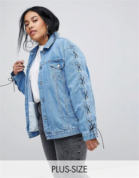 Lace Up Sleeve Denim Jacket chorus plus chorus plus lace up sleeves oversized denim