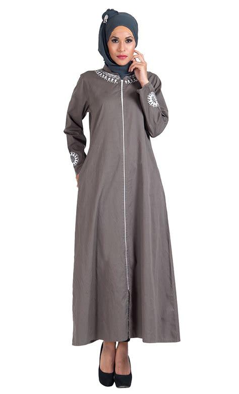 Jilbab Hoodie Zipper grey cotton twill zipper front open abaya jilbab dress