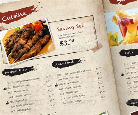 30 Food Menus Templates For Caf 233 And Restaurants Ginva Indesign Restaurant Menu Template