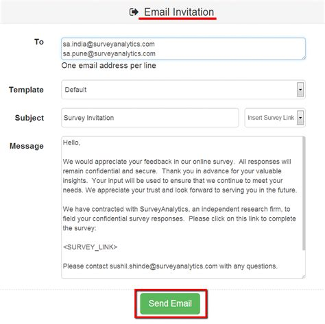 survey invitation email template surveyanalytics features