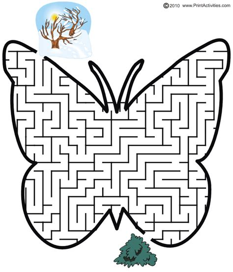 printable spring maze printactivities link butterfly maze shaped like a