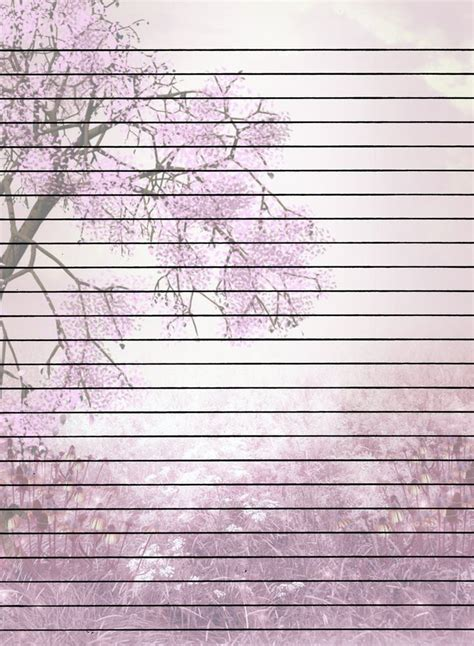 Print Paper - tree with flowers lined printable stationary diy fonts