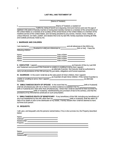 last will and testament template pdf last will and testament form free create edit