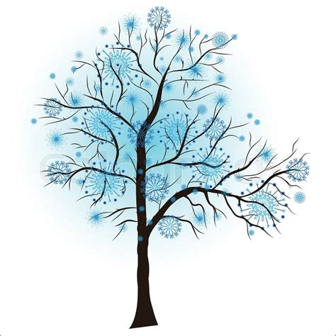 winter tree from snowflakes by the vector colourbox decorative winter tree vector stock vector colourbox