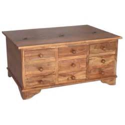 Coffee Tables With Drawers Solid Sheesham Wood 9 Drawer Coffee Table Trunk Storage Unit Ebay