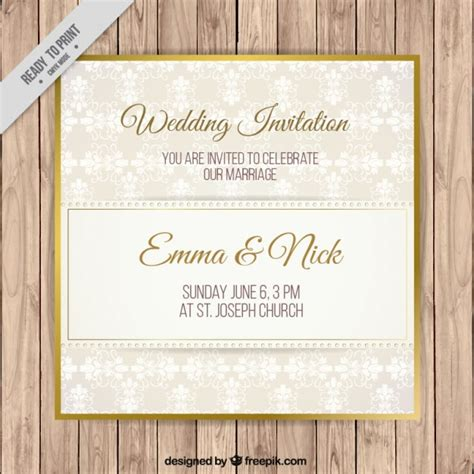 Simple Gold Wedding Invitations by Simple Wedding Invitation With Golden Detail Vector Free