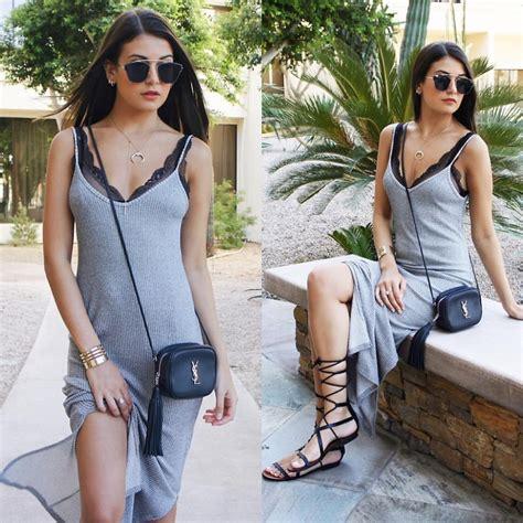 blogger ysl fashionbymnp bershka grey slip dress mango lace up