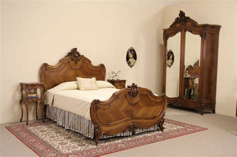 sold french queen size  pc antique  carved walnut bedroom set harp gallery