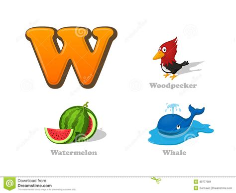 imagenes en ingles con w abc letter w funny kid icons set woodpecker watermelon