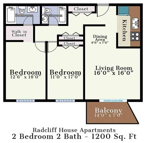 Two Bedroom Two Bath Floor Plans by Radcliff House Bryn Mawr Pa