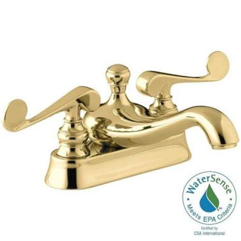 shop kohler revival vibrant polished brass 2 handle high kohler revival 4 in centerset 2 handle low arc water