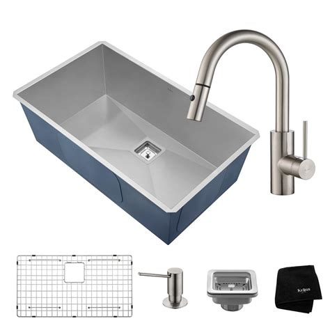 C Kitchen Sink Kraus Pax All In One Undermount Stainless Steel 32 In Single Bowl Kitchen Sink With Faucet In