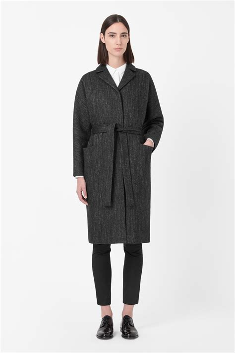 Wool Belted A Line Coat From Ms by Cos Belted Wool Coat In Gray Grey Lyst